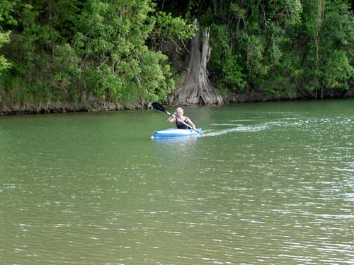 Annie in her kayak on the Pedernales