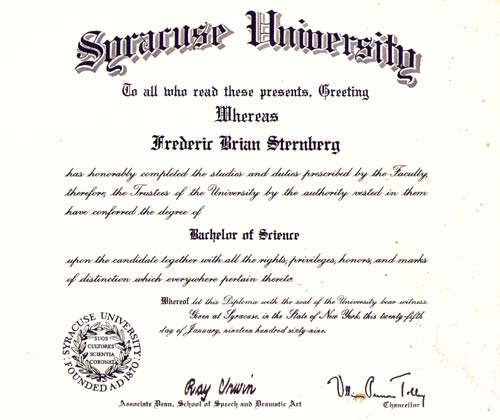 Diploma from Syracuse